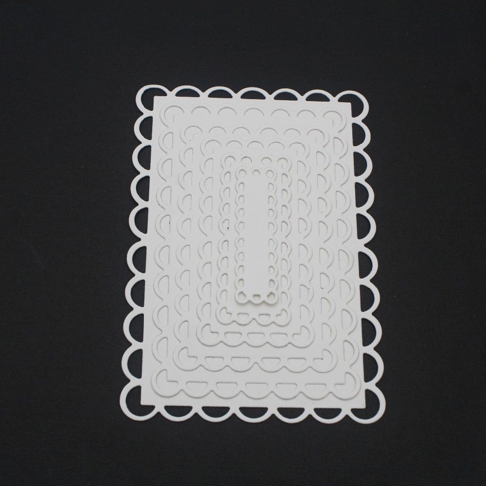 Nested Stitched Scallop Rectangle Frame Metal Cutting Dies DIY Etched Dies Craft