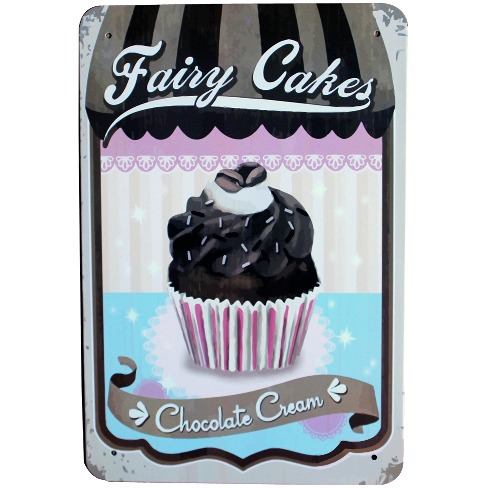 Cupcake Home Decor: FAIRY CAKES Metal Tin Plague Retro Painting Board BLACK