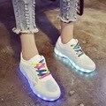 Tamanho Euro 34-40 Crianças sapatas Dos Miúdos Casuais Meninos USB charg LEVOU Luminosa sapatos de marca Crianças tênis Brilhantes meninas Acender sapatos