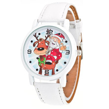 New Fashion Christmas Elderly Pattern Women Watch Male Female Leather Band Analog Quartz Wrist Watches White Clock Relogio(China)