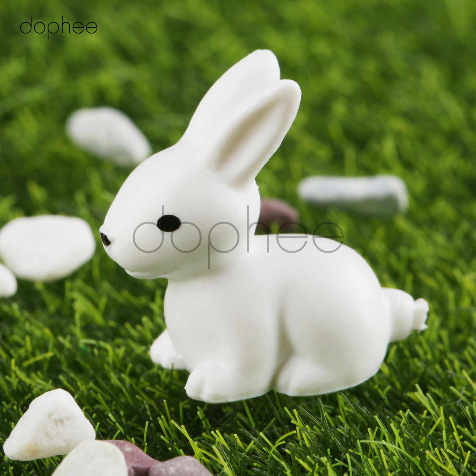 dophee 5pcs Rabbit miniature garden furniture hare Figurine animal home decoration accessories Decor plastic toy Gift For Kids