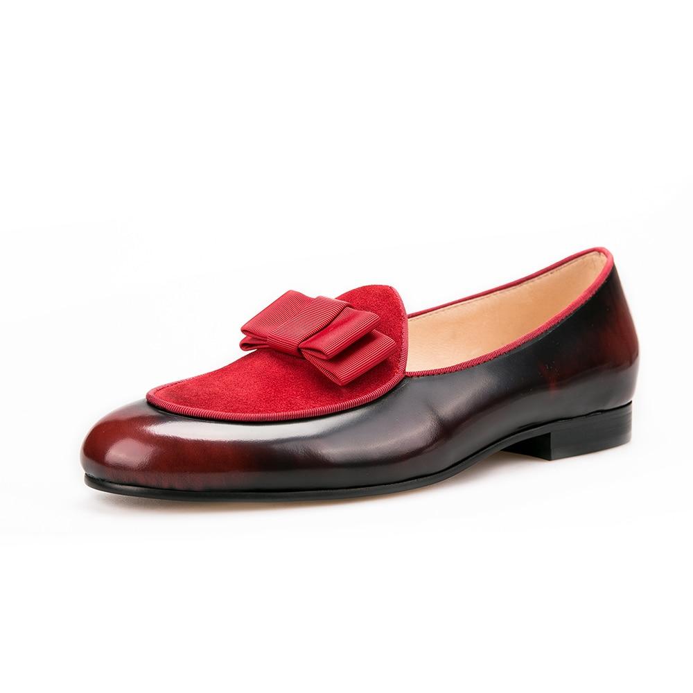 Männer Luxuriöse Müßiggänger Mit Red Leder Shoes Und Klassische Wohnungen Nähen Echtem Bowtie Bankett Handmade Nubuk Jeder Schuh qBTnU