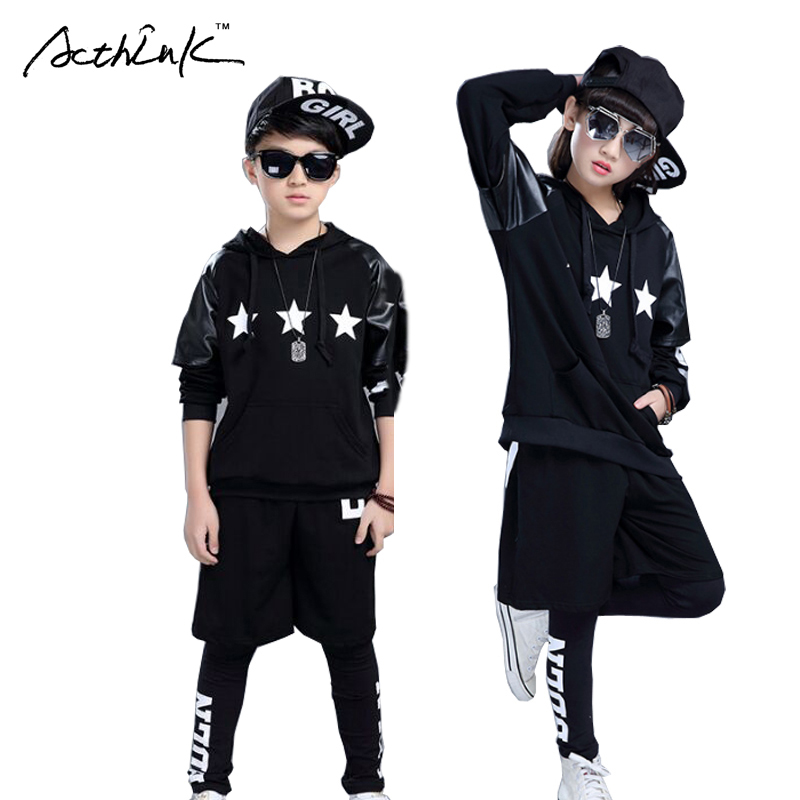 ActhInK New Boys Winter Hip-hop Style 3Pcs Clothing Set Girls Dancing Performance Leather Costume Kids Suits with Stars, AC014