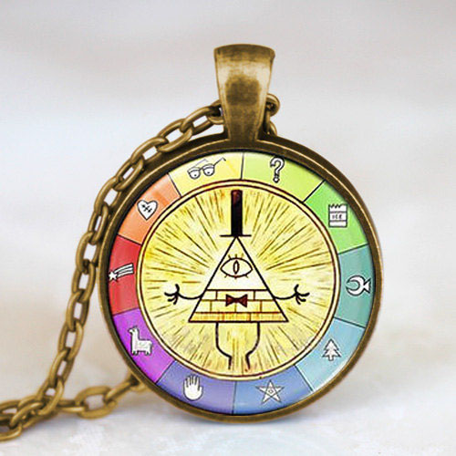 Steampunk Drama Gravity Falls Mysteries BILL CIPHER WHEEL Pendant Necklace doctor who 1pcs/lot women mens vintage chain charming