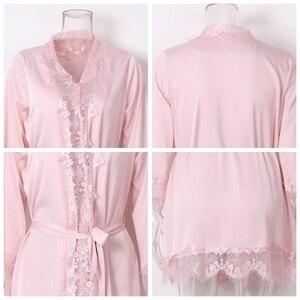 Image 4 - Sexy Eyelash Lace Robes Women Bathrobe Home Sleep Wear Faux Silk Nightwear Long Sleeve Negligees Home Clothing Black Pink