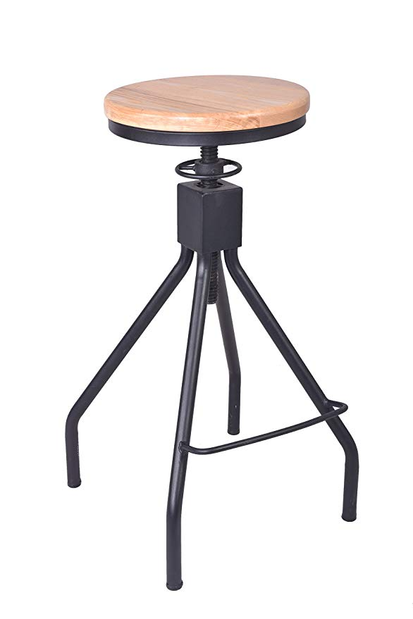 Height Adjustable Bar Stools Seat Swivel Wood And Metal Counter Height Bar Chairs Industrial Style Chairs
