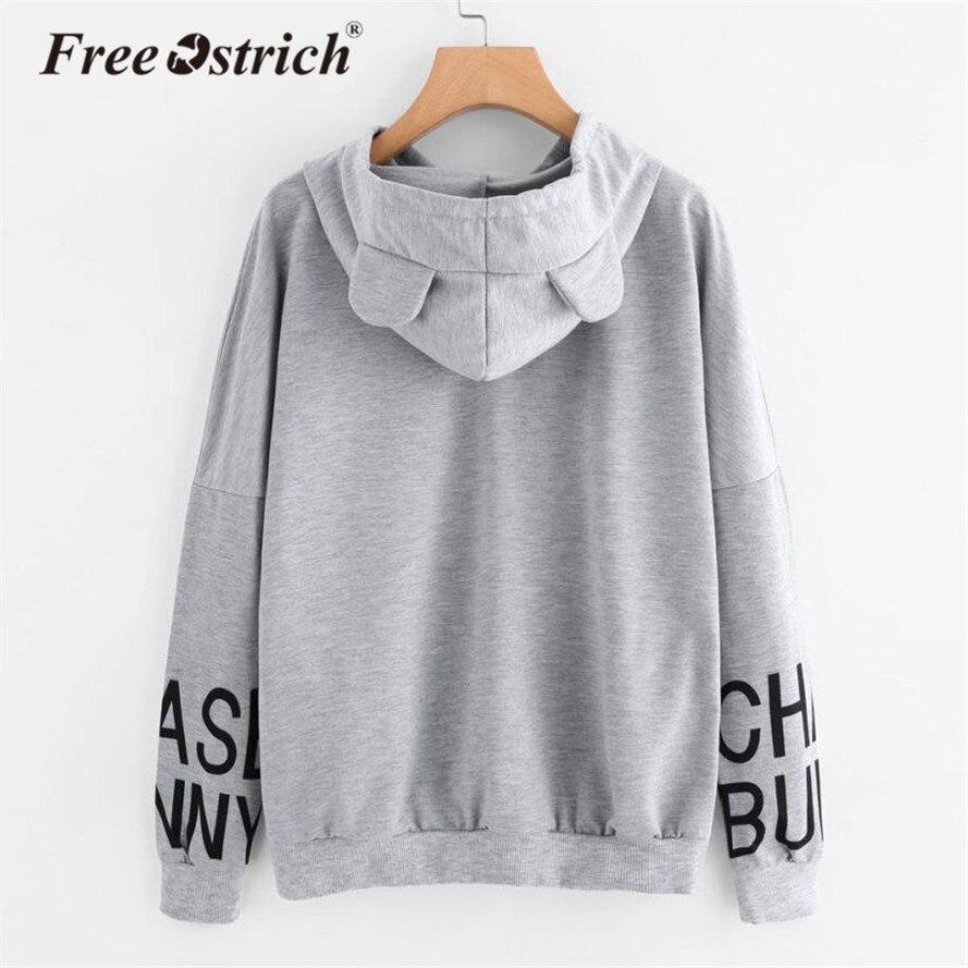 Free Ostrich Hoodies Sweatshirt Women Long Sleeve Letter Print Cat Hoodie Jacket Jumper Women Clothing sudadera Mujer Hooded No8