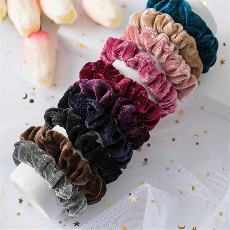 Women Velvet Ladies Hair Tie multicolor Lady Scrunchie Ponytail Donut Grip  Female Hair rope