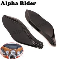 Motorcycle Black Side Wings Windshield Airflow Windscreen Upper Fairing Accent For Harley Touring Electra Glide FLHT
