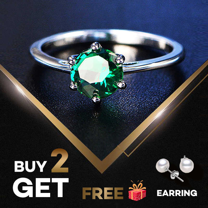 PANSYSEN Natural Emerald Rings for Women 7MM 2019 Classic Silver 925 Jewelry Wedding Engagement Ring Gemstone Fine Jewelry Gift