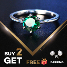 PANSYSEN Natural Emerald Rings for Women 7MM 2019 Classic Silver 925 Jewelry Wedding Engagement Ring Gemstone Fine Gift