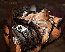 Phương tây Cung Điện Mụt Lẹo Ở Mí Mắt Ren Sang Trọng Rửa Silk Cotton 4 cái Bedding Sets Duvet Cover Gối Bedsheet Khách Sạn Sao Sản Phẩm Giường