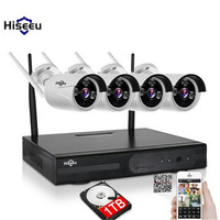 Hiseeu WIFI CCTV System 720P 4CH Wireless NVR 1TB HDD IP Camera IR CUT Bullet CCTV