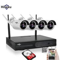 Hiseeu WIFI CCTV System 720P 4CH Wireless NVR 1TB HDD IP Camera IR CUT Bullet CCTV