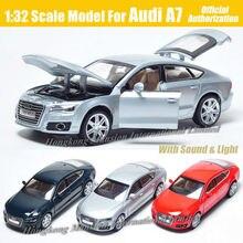 1:32 skala dla Audi A7 Sportback luksusowe licencjonowane odlewane modele ze stopu metalu kolekcjonerska kolekcja Model samochodu dźwięk i zabawki podświetlane pojazdu