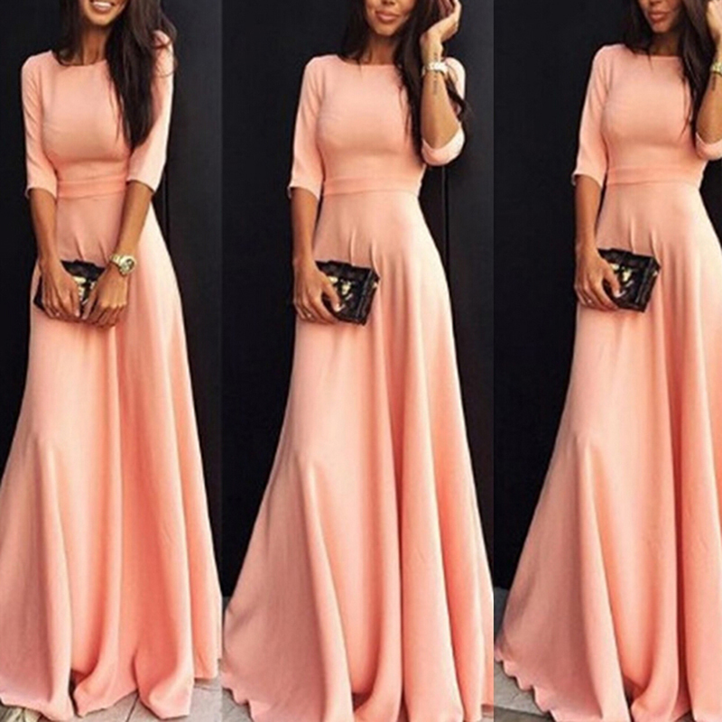 Женские розовые длинные вечерние платья элегантные три четверти Длина рукава вечернее длинное Макси платье