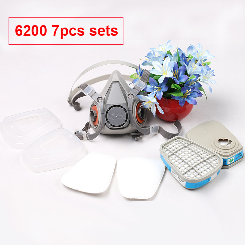 7in1 As 6200 Chemical Gas Mask Filter Painting Respirator Pesticide Spray Pesticides Work Welding Dust Mask Support 6000 Filters