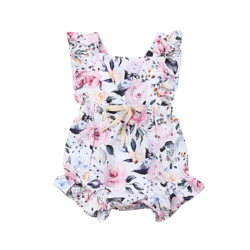 0-18M Baby Girls Clothes Ruffle Sleeveless Baby   Romper   Pink Floral Print Baby Girl   Romper   Summer Children Flower Sashes Jumpsuit