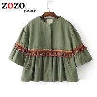 Falacs Zozo Spring Summer Casual Fashion Prairie Chic Embroidery Tassel Half Flare Sleeves Short Blouses Shirts