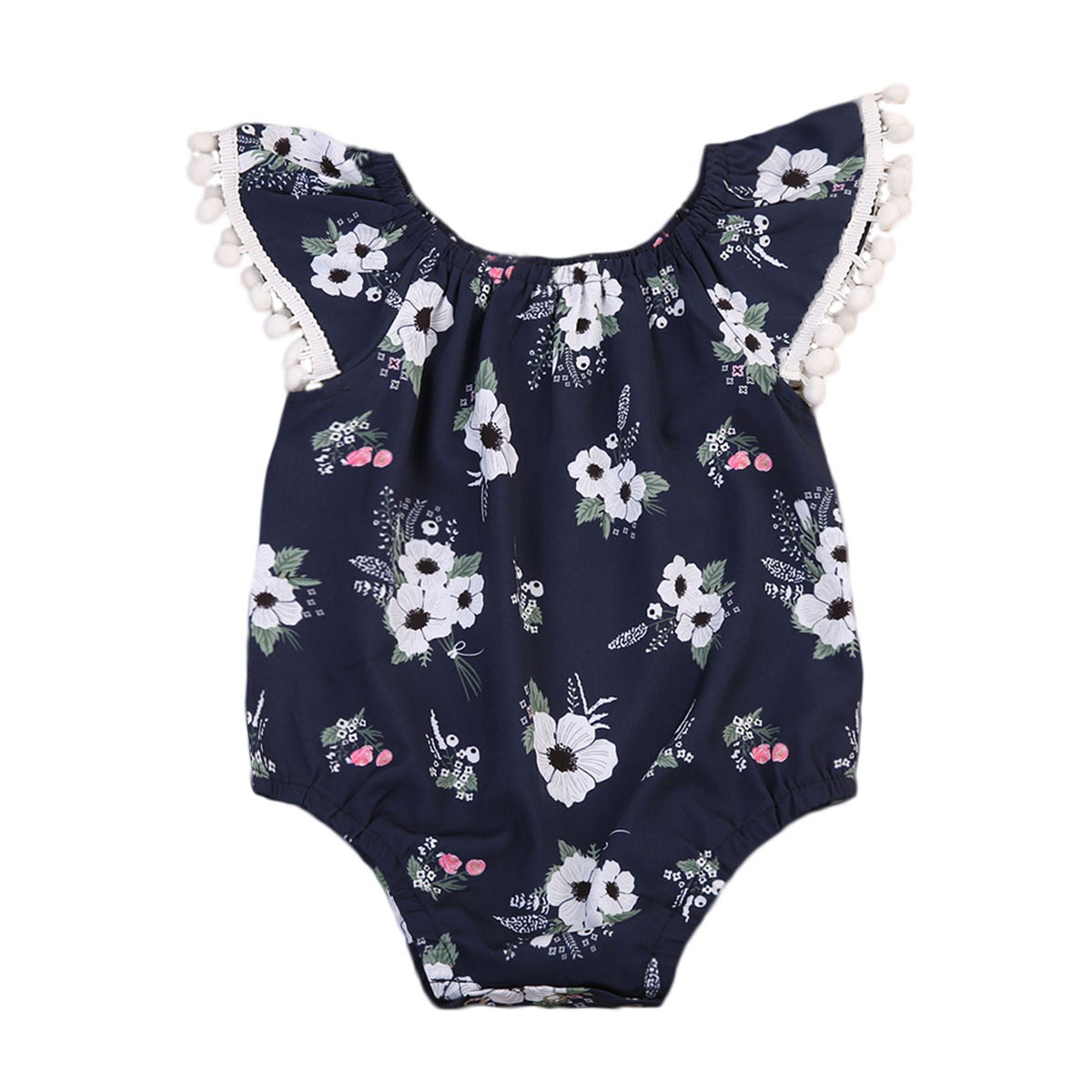 Bodysuits Lovely Newborn Baby Girls Floral Bodysuit Clothes Ruffles Sleeve Tassel Ball Playsuit Toddler Kids Jumpsuit Outfit Beach Sunsuit