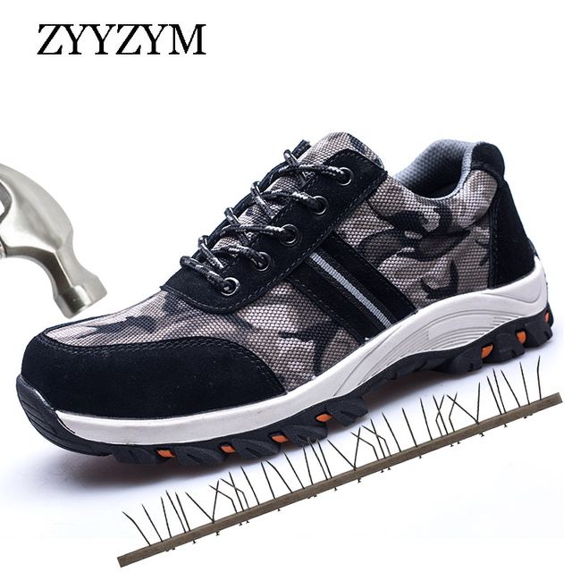ZYYZYM Men Working Safety Shoes Protective Steel Toe Breathable Site Outdoors Safety Shoes For Men Plus Size