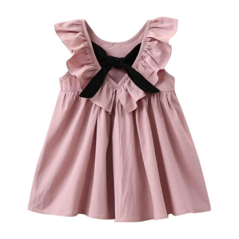 2017 New Princess Kids Baby Girls Dress Bow Tie Sleeveless Jumper Dresses Pleated Puff Sleeve Vestido Children Girls Apparel S2