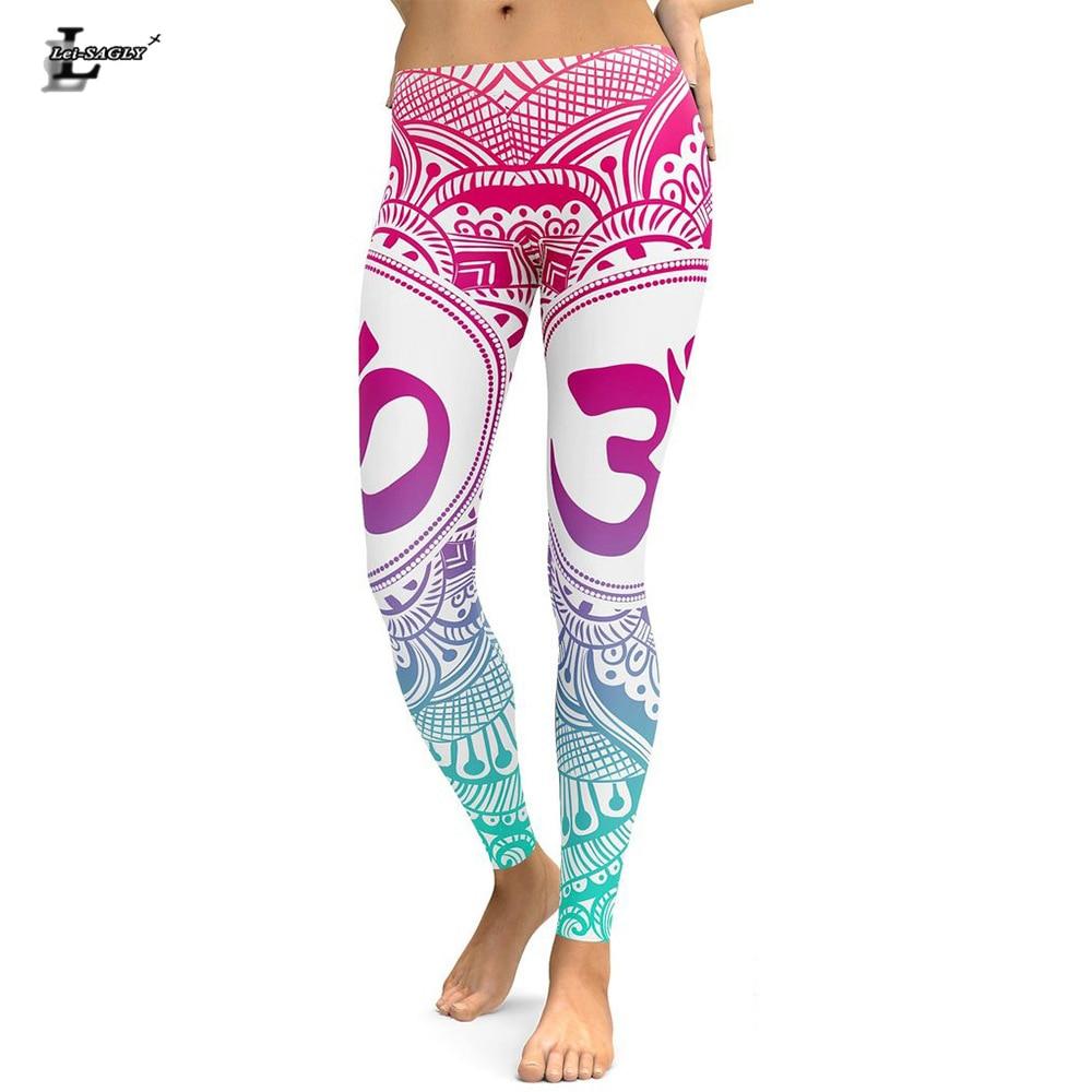 Lei-SAGLY New Arrival Mandala Women   Leggings   Pink Love Flower Digital Printed   Leggings   Workout Leggins High Waist Elastic Pants