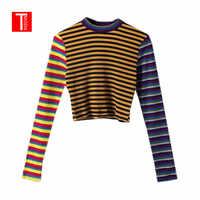 2018 otoño mujer suéteres a rayas High Street Crop Tops delgados tejidos jerseys mujeres Streetwear elasticidad punto