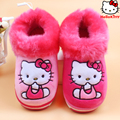 Moda antideslizante chicas calientes del invierno zapatos de los niños del gatito de la historieta fresa casa pantofole 16N1103 interiores zapatillas kids calzado