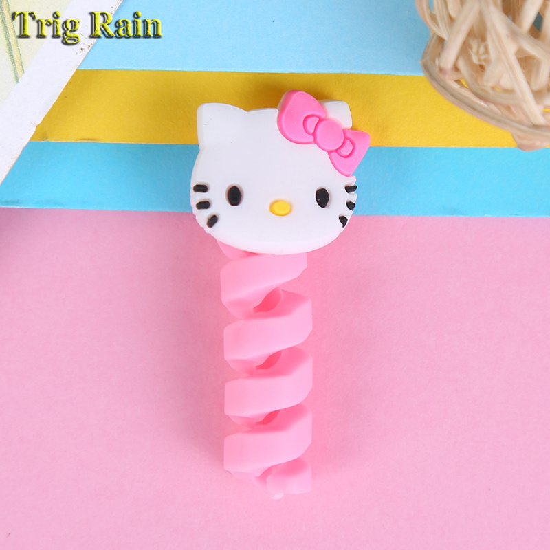 HTB10VEbEuOSBuNjy0Fdq6zDnVXaT Cartoon Spiral Cable protector Data Line Silicone Bobbin winder Protective For iphone Samsung Android USB Charging earphone Case