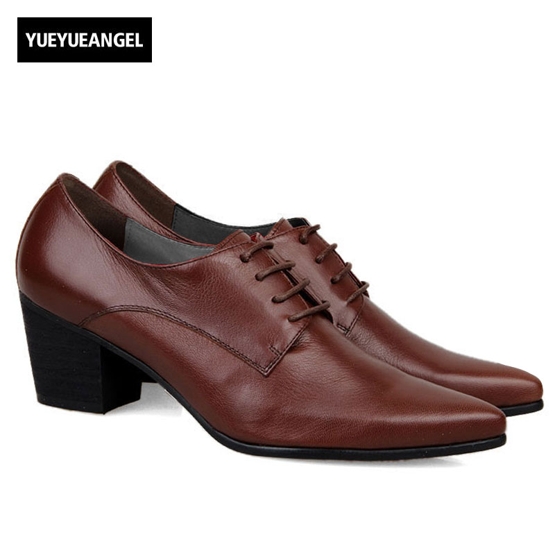 Italy Design High Quality Brand New Fashion Mens Lace Up Pointy Toe Oxfords Formal Dress Shoes Cuban Heels Leather Business Shoe