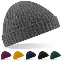 Beanie Trawler Hat Warm Ribbed Winter Turn Up Retro Unisex Fisherman