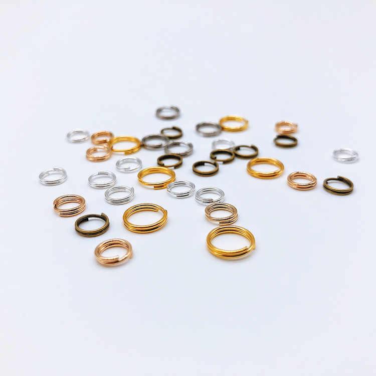 500 pcs 5 6 7 8 10 12 14 มม. แหวนคู่ลูปทองเงินโรเดียมสีแยกตัวเชื่อมต่อสำหรับเครื่องประดับทำ