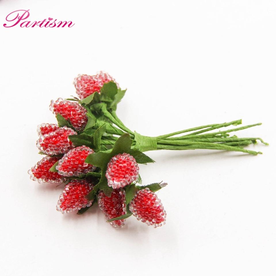 12pcs Artificial Strawberry Flower Bouquet Plastic Bud For Home