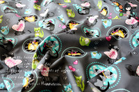 1 Meter 100 Cotton Plain Fabric Grey Bottom With Colored Cat Print Handmade DIY Patchwork Garment