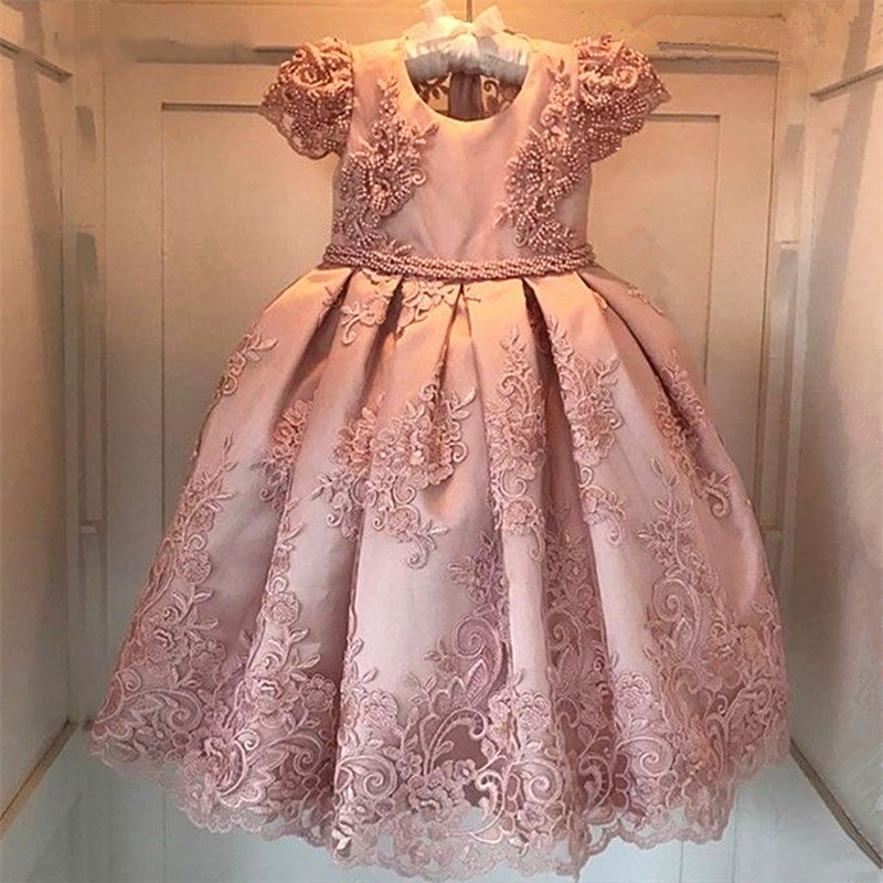 Pink   Girls     Dresses   For Birthday Party vestido daminha Pearls Lace Bow Cap Sleeves   Flower     Girl     Dress   Kids Birthday Gown 2-14Y