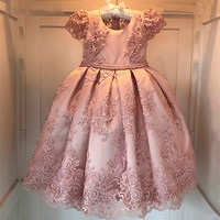 Pink Girls Dresses For Birthday Party vestido daminha Pearls Lace Bow Cap Sleeves Flower Girl Dress Kids Birthday Gown 2 14Y