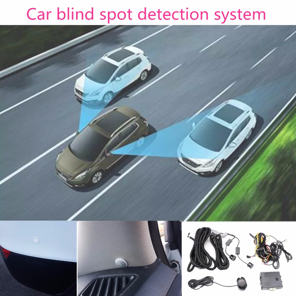 Car Blind Spot Monitoring System Ultrasonic Sensor Assist Lane Changing Tool Blind Spot Mirror Radar Detection W Alarm+ Led