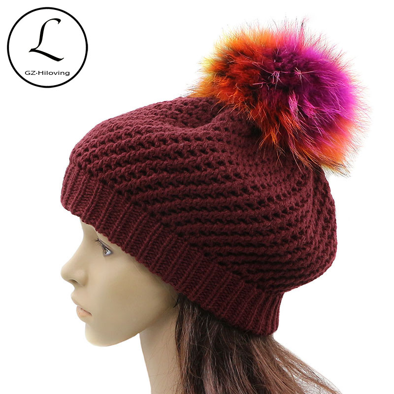 6f92d2f422507 Detail Feedback Questions about GZHILOVINGL Acrylic Knitted Crochet Beret  Beanie Hats Cap Womens Girls Ladies Winter Casual Solid Slouchy Fur Pom Pom  Beret ...