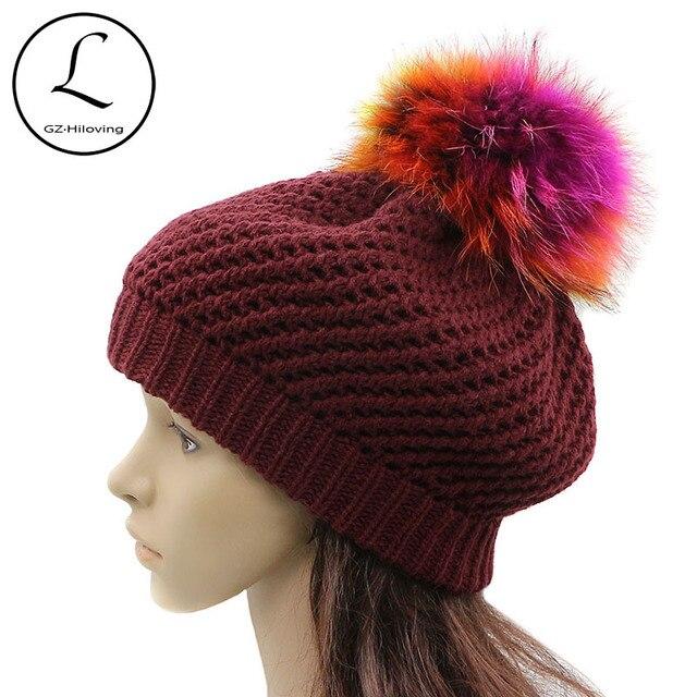 GZHILOVINGL Acrylic Knitted Crochet Beret Beanie Hats Cap Womens Girls  Ladies Winter Casual Solid Slouchy Fur Pom Pom Beret Hats f03d2a2fb5b9