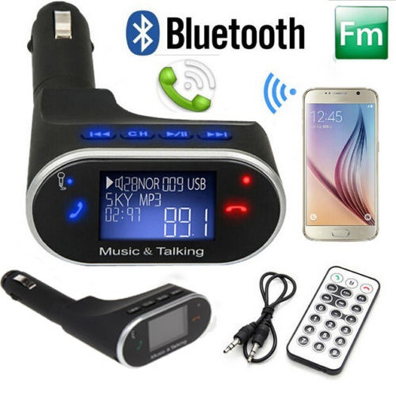 Wireless LCD Bluetooth Receiver Adapter Handsfree Car USB MP3 Player FM Transmitter Multifunction Cigarette Lighter Car Charger usb