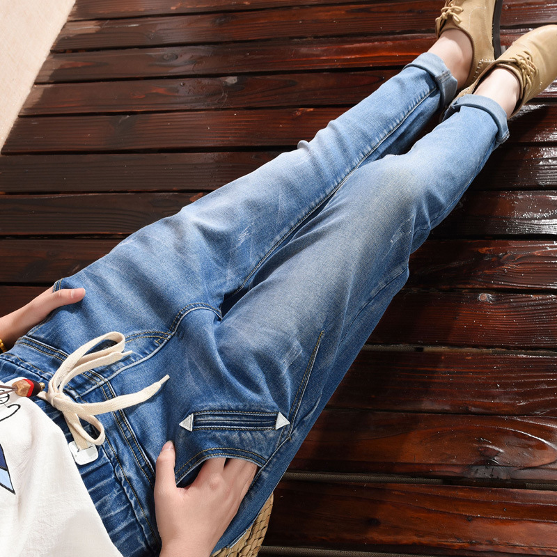 Women Jeans Ripped Loose Fashion Trousers lager Size Loose jeans women loose Stretch waist harem pants Blue Denim Pants Z2609 loose stretch harem jeans with elastic waist woman elasticity harem jeans trousers for women pants large size