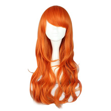 MCOSER Free Shipping 60cm long Wavy Synthetic One Piece orange Cosplay Wig 100% High Temperature Fiber WIG-338B