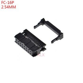Conector fêmea 2x8pin 16pin fc 16p da fileira dobro para o encabeçamento da caixa de idc para o cabo 10 pces FC-16p idc tomada passo 2.54mm jtag isp