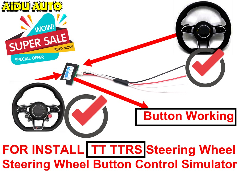 Multifunction Steering Wheel Button Control Simulator Adapter For Audi A4 A5 B8 A6 C7 install TT TTRS Steering Wheel forever sharp a01 56p steering wheel adapter 5 6 hole billet alum