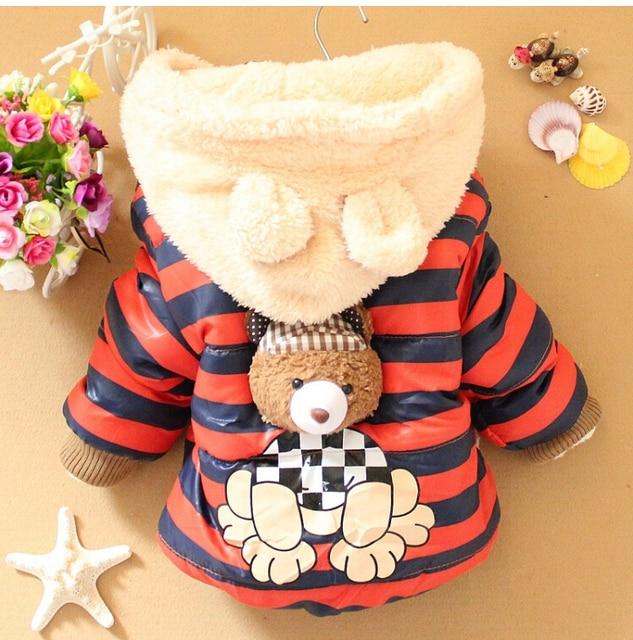 2017 Новый Мультфильм Медведь Мальчики Куртки Дети Зимой Согреться Хлопок Толстовки Пальто Детей Случайный Верхняя Одежда