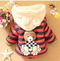 2017 Novo Urso Dos Desenhos Animados Do Bebê Meninos Jaqueta Crianças Inverno Manter Quente Algodão Casaco Hoodies Crianças Outerwear Roupas Casuais