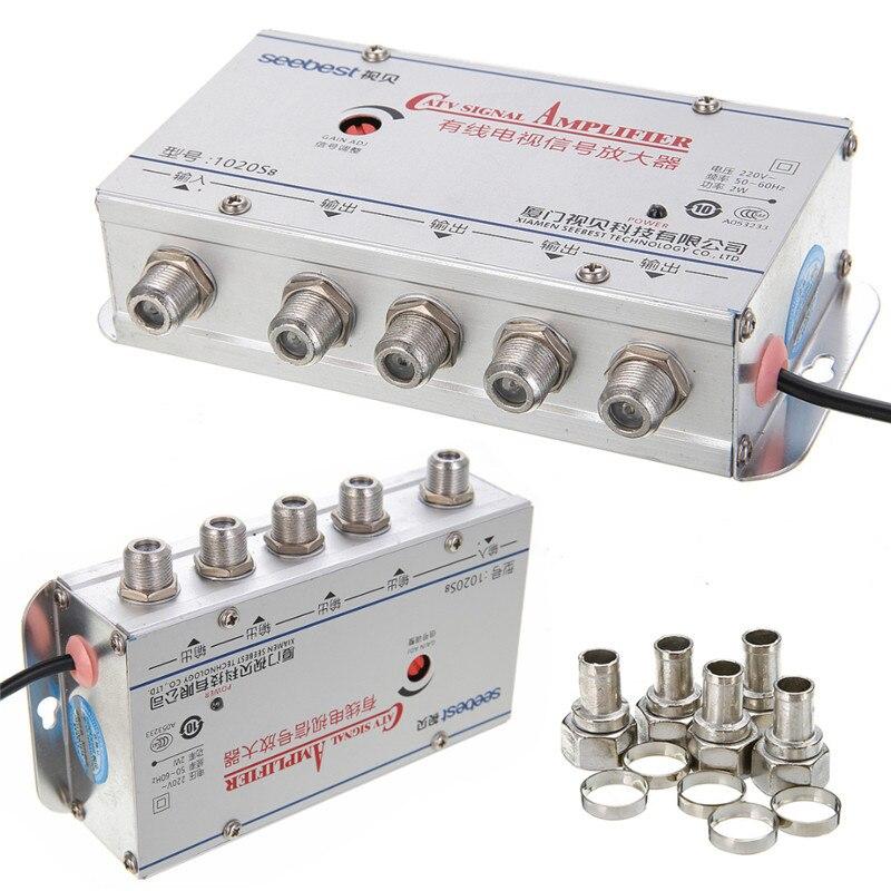 8a99430edf CATV 4Way 20DB Alta Qualidade Catv TV VCR Amplificador Antena Signal  Booster Splitter Mayitr 45-860 mhz Antena de TV
