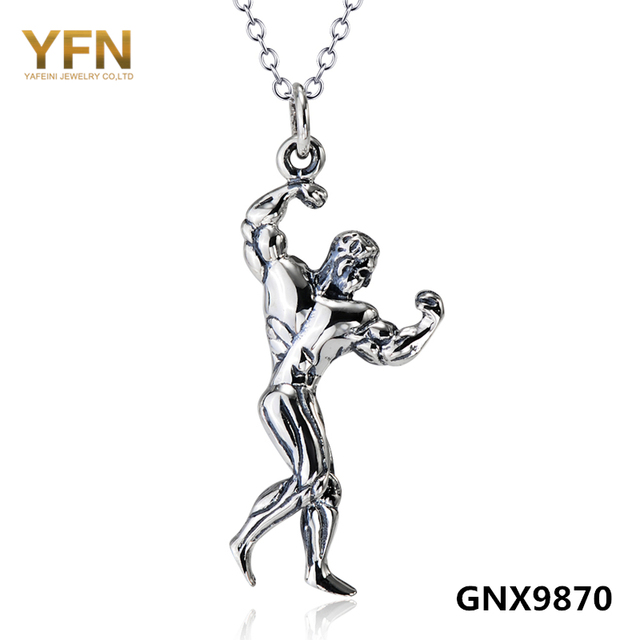 GNX9870 100% Real Pure 925 Sterling Silver Fitness Gem Necklace Vintage Jewelry Strong Man Bodybuilding Pendant Necklace
