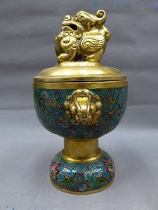 25cm*China bronze Cloisonne censer fine blue Foo Dogs Lion incense burner Statue